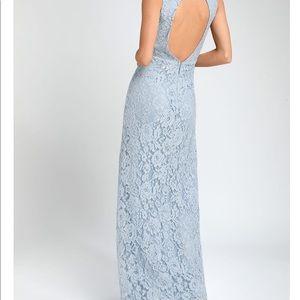 Blue lace gown dress